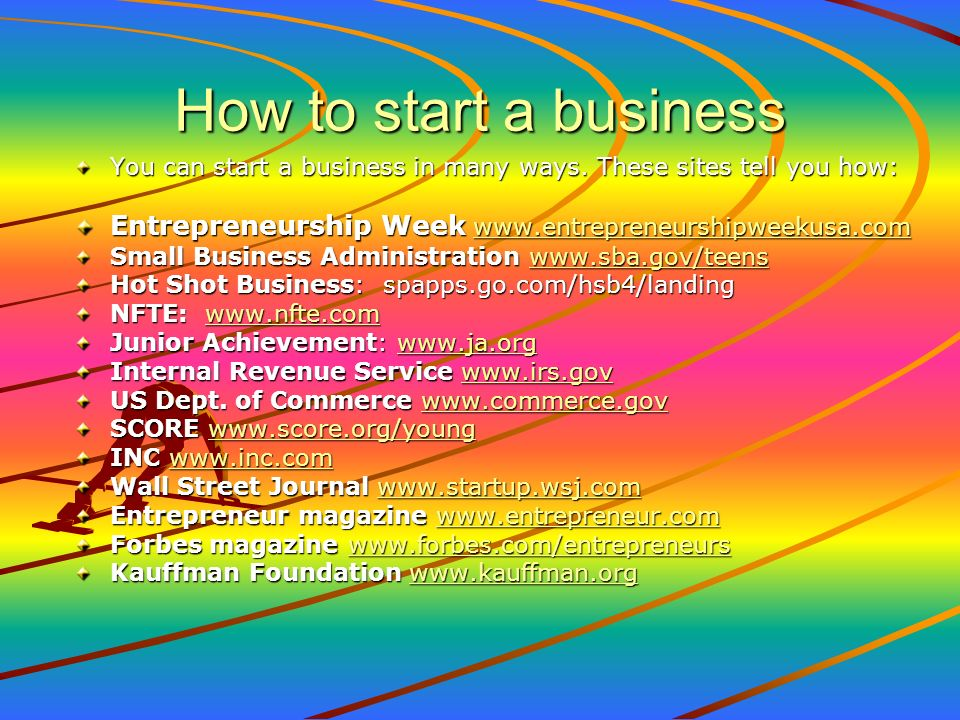 How to start a business You can start a business in many ways. These sites tell you how: Entrepreneurship Week www.entrepreneurshipweekusa.com.