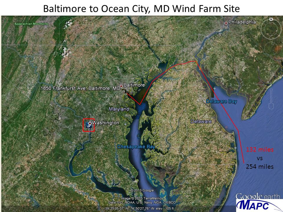 Baltimore to Ocean City, MD Wind Farm Site