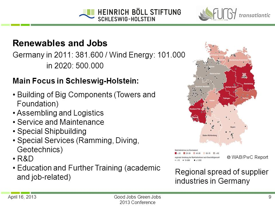 Renewables and Jobs Germany in 2011: 381.600 / Wind Energy: 101.000