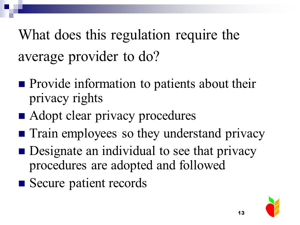 What does this regulation require the average provider to do