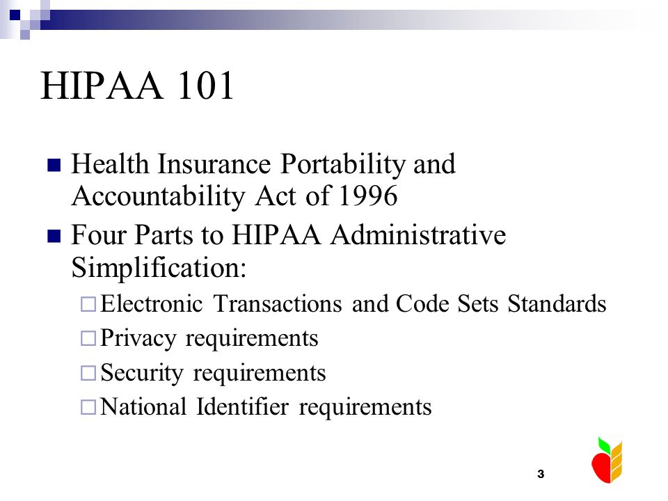 HIPAA 101 Health Insurance Portability and Accountability Act of 1996