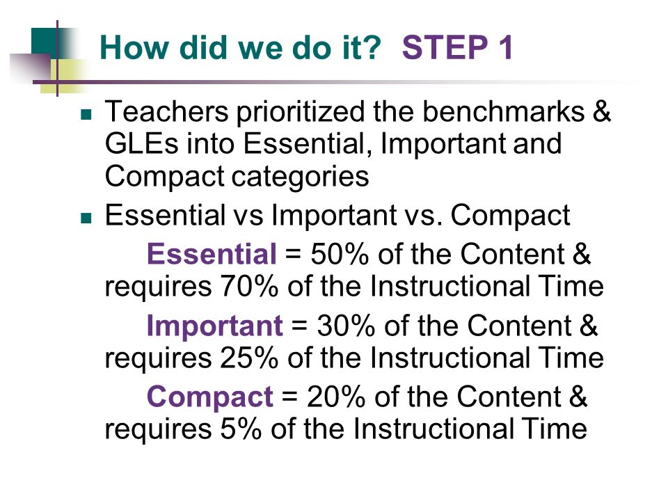How did we do it STEP 1 Teachers prioritized the benchmarks & GLEs into Essential, Important and Compact categories.