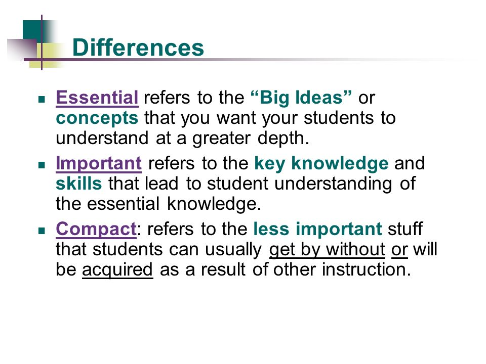 Differences Essential refers to the Big Ideas or concepts that you want your students to understand at a greater depth.