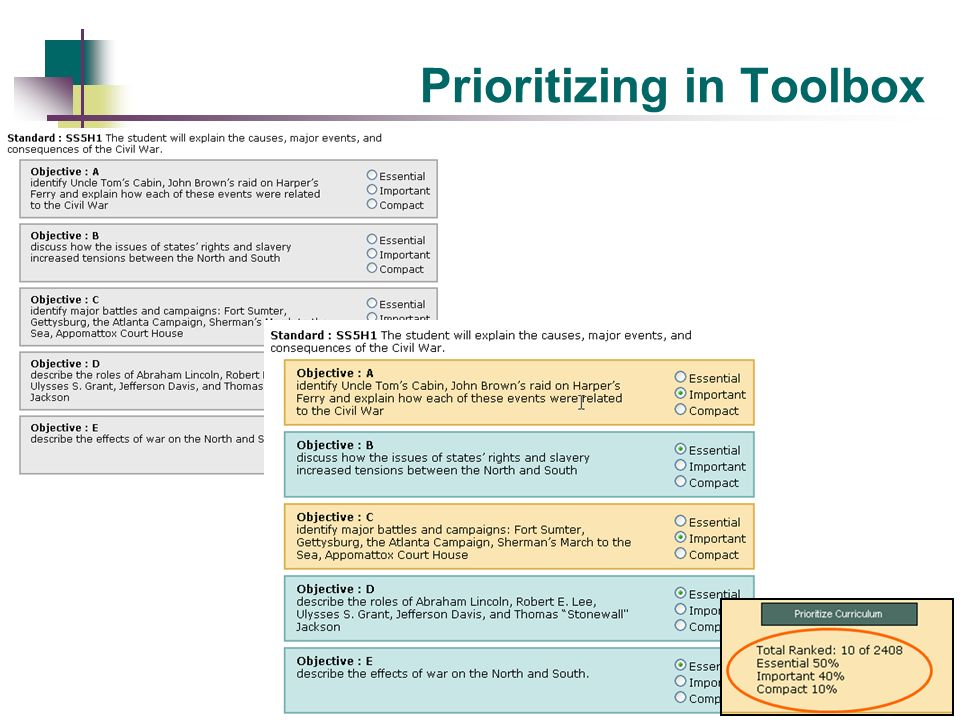 Prioritizing in Toolbox