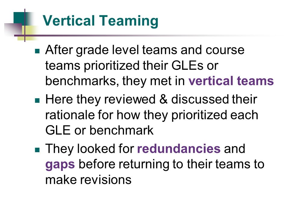 Vertical Teaming After grade level teams and course teams prioritized their GLEs or benchmarks, they met in vertical teams.
