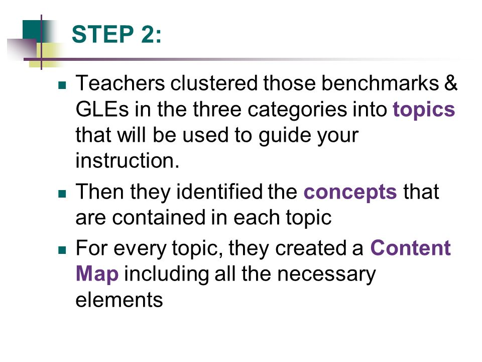 STEP 2: Teachers clustered those benchmarks & GLEs in the three categories into topics that will be used to guide your instruction.