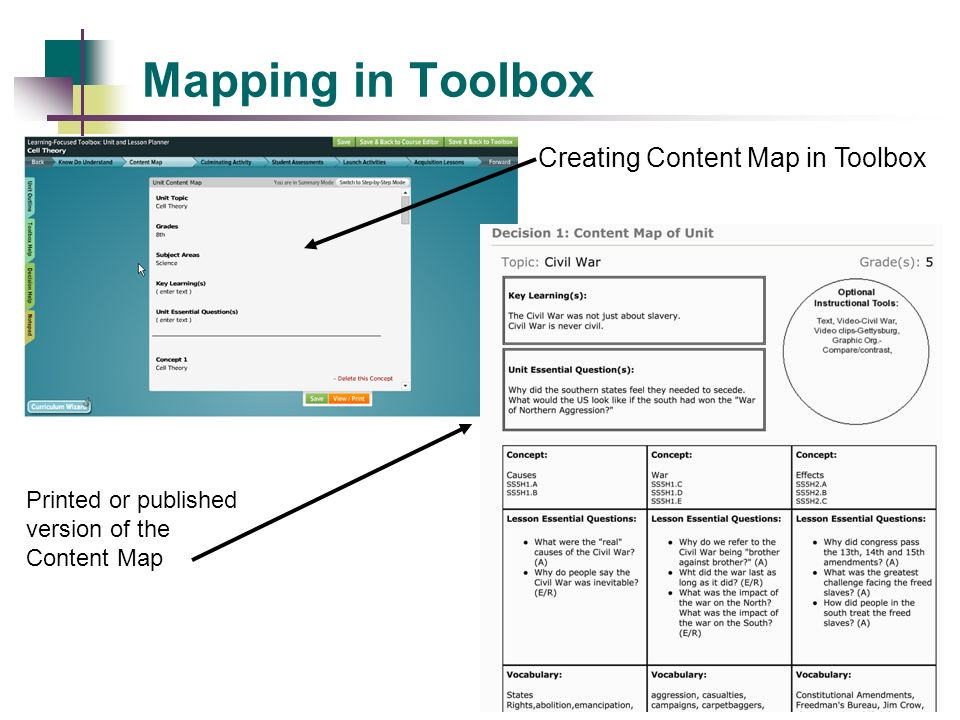 Mapping in Toolbox Creating Content Map in Toolbox
