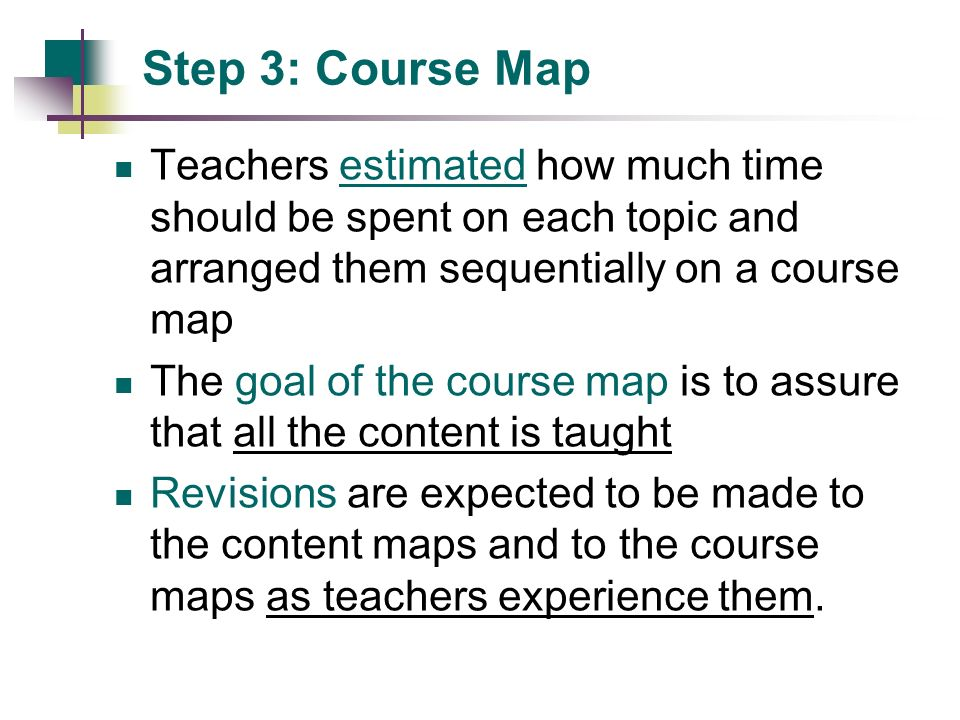 Step 3: Course Map Teachers estimated how much time should be spent on each topic and arranged them sequentially on a course map.