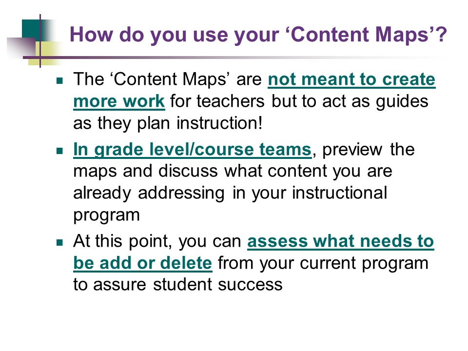 How do you use your 'Content Maps'