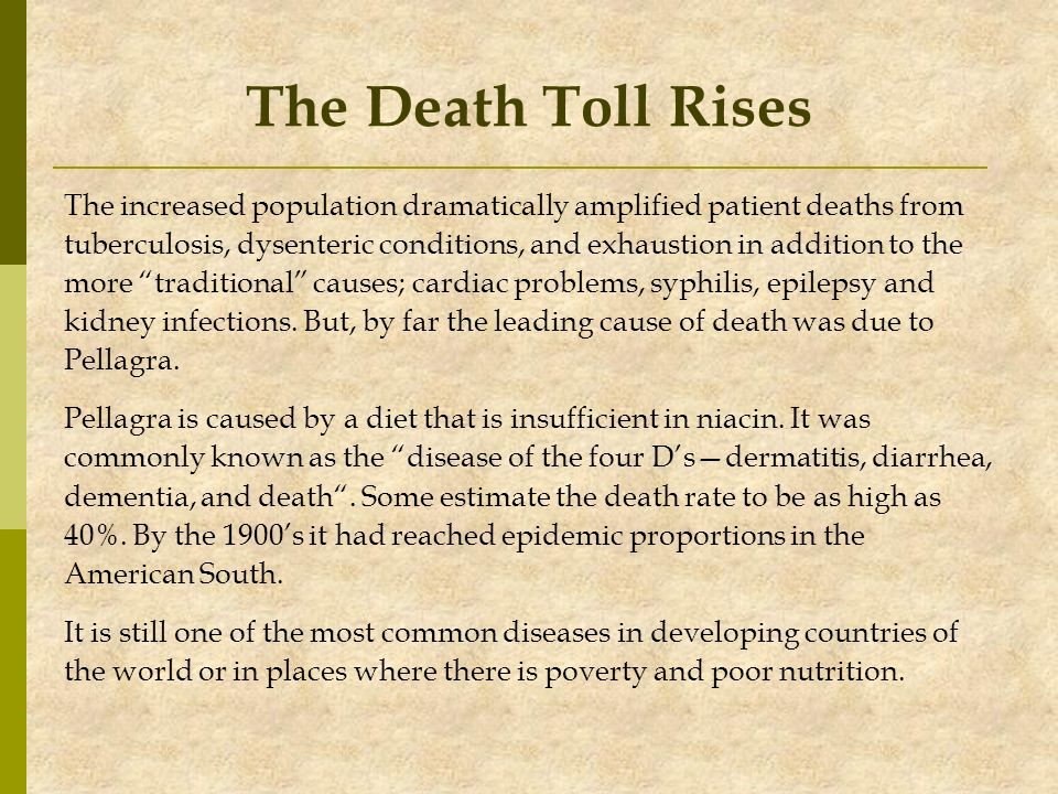 The Death Toll Rises The increased population dramatically amplified patient deaths from.