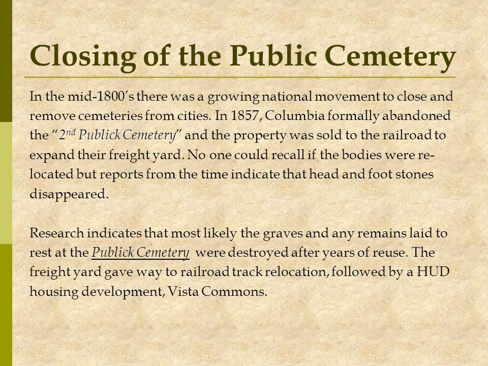 Closing of the Public Cemetery