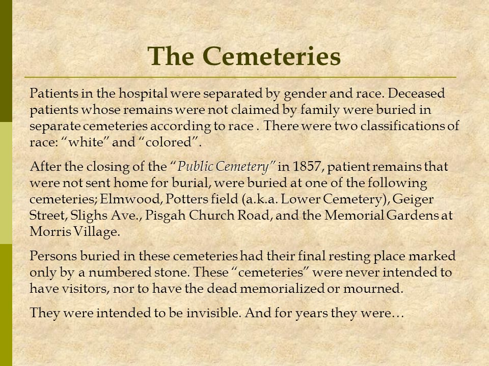 The Cemeteries Patients in the hospital were separated by gender and race. Deceased.