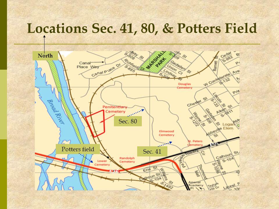 Locations Sec. 41, 80, & Potters Field