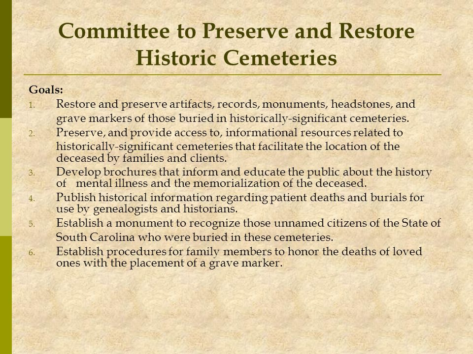 Committee to Preserve and Restore Historic Cemeteries