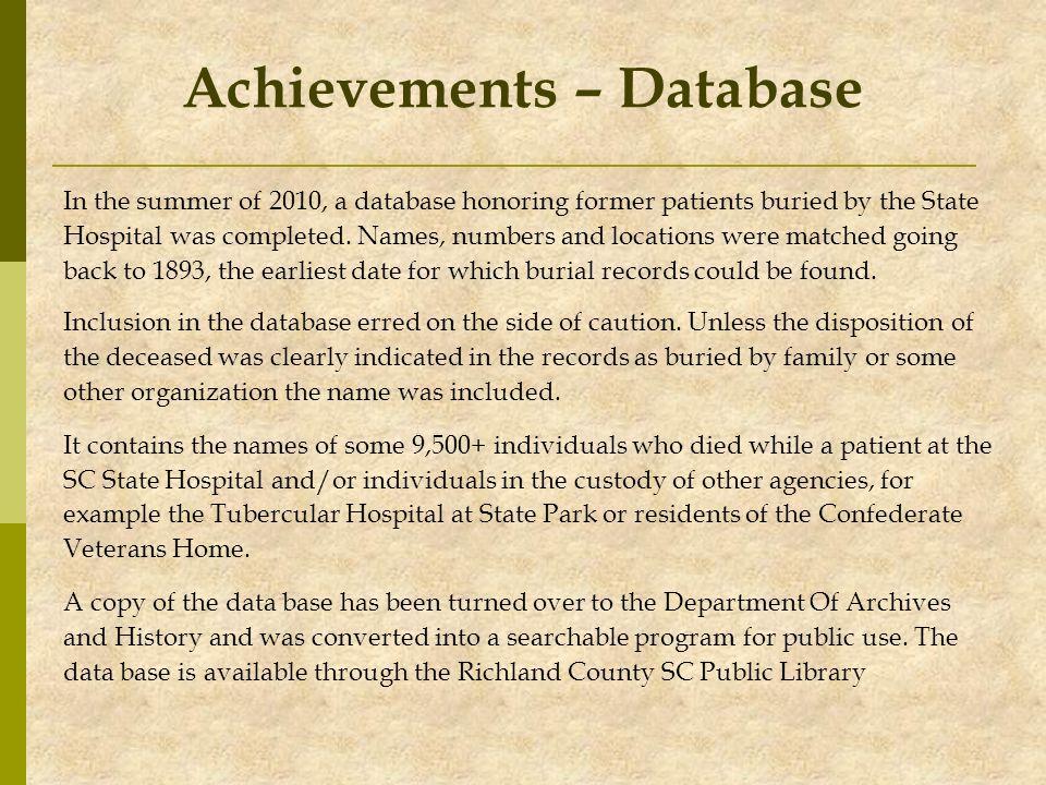 Achievements – Database