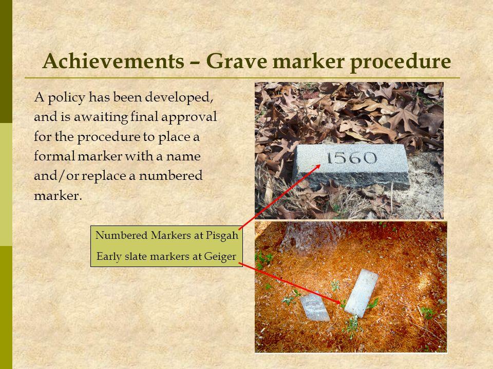 Achievements – Grave marker procedure