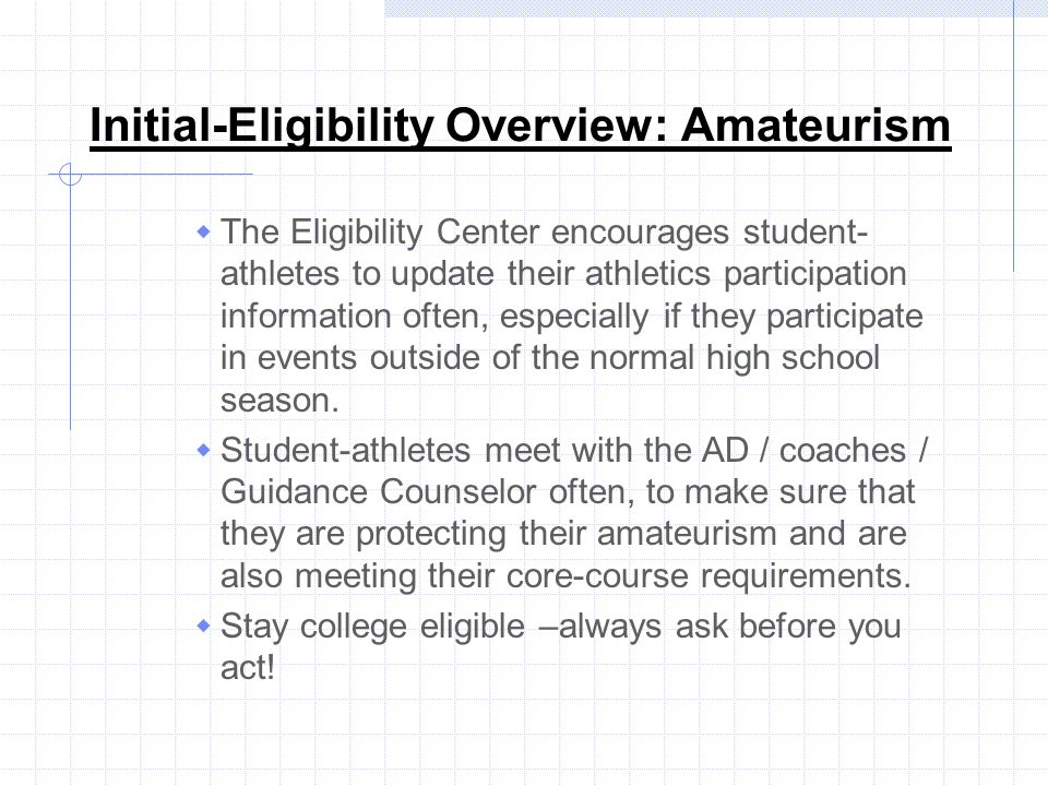 Initial-Eligibility Overview: Amateurism
