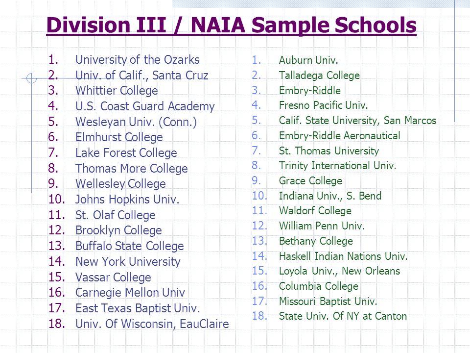 Division III / NAIA Sample Schools