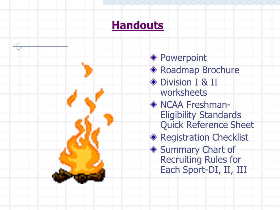 Handouts Powerpoint Roadmap Brochure Division I & II worksheets