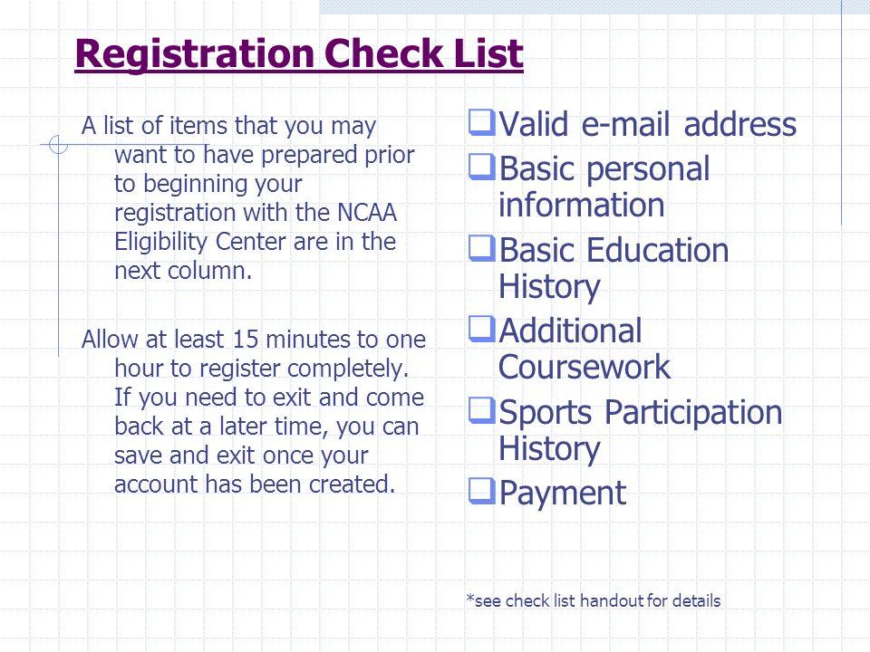 Registration Check List