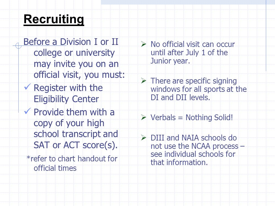Recruiting Before a Division I or II college or university may invite you on an official visit, you must: