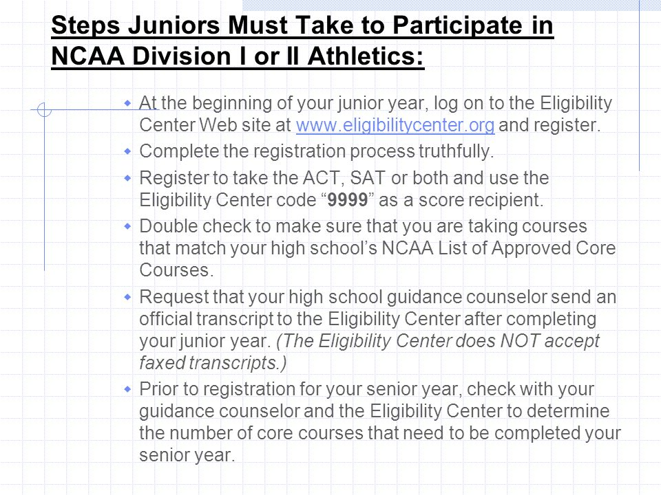 Steps Juniors Must Take to Participate in NCAA Division I or II Athletics: