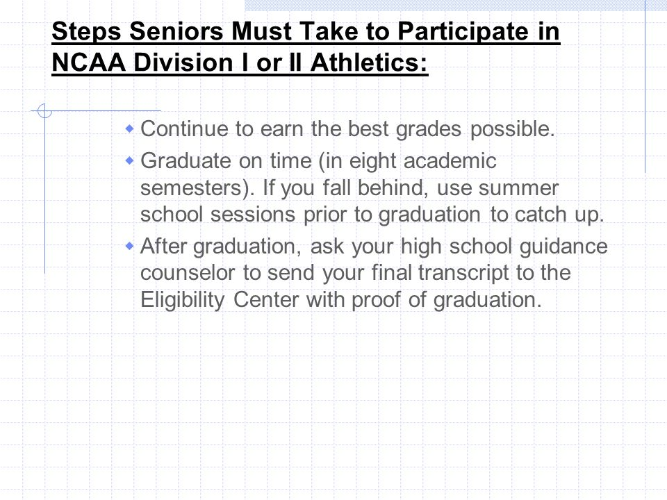 Steps Seniors Must Take to Participate in NCAA Division I or II Athletics: