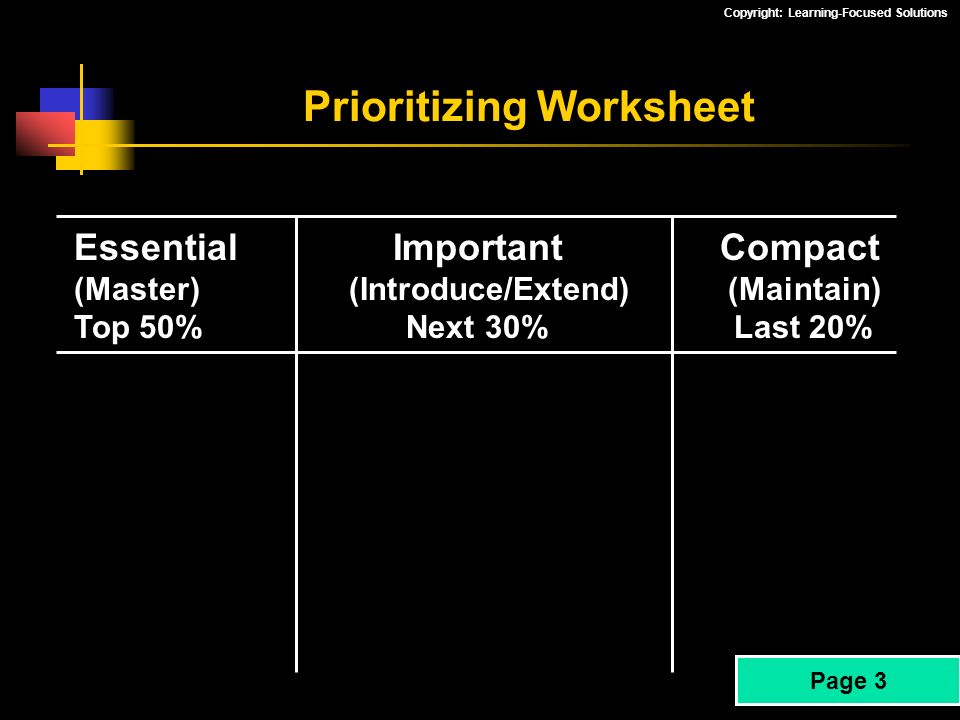 Prioritizing Worksheet