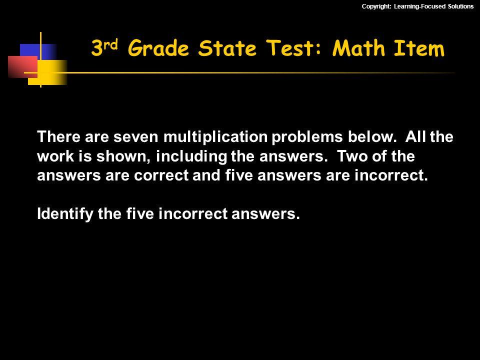 3rd Grade State Test: Math Item
