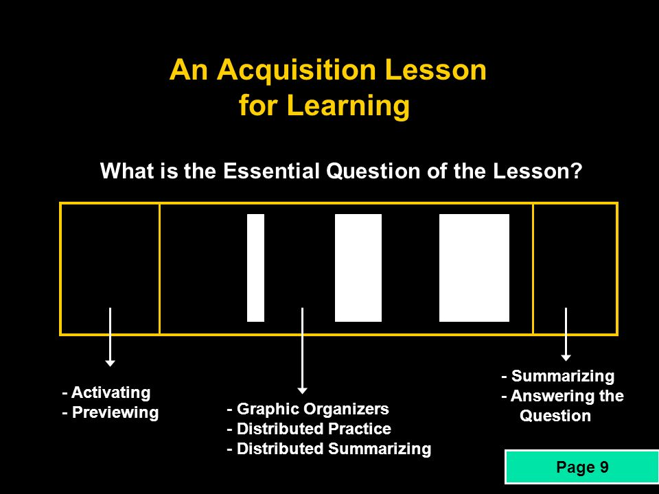 An Acquisition Lesson for Learning