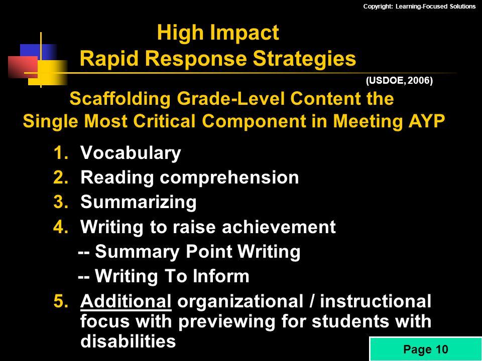 High Impact Rapid Response Strategies
