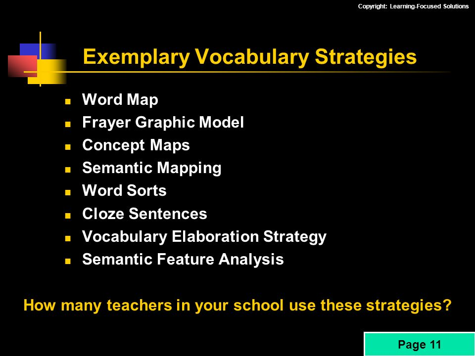 Exemplary Vocabulary Strategies