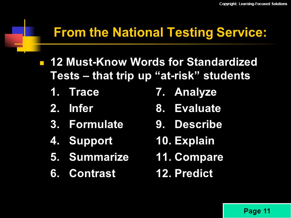 From the National Testing Service: