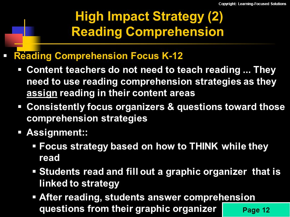 High Impact Strategy (2) Reading Comprehension