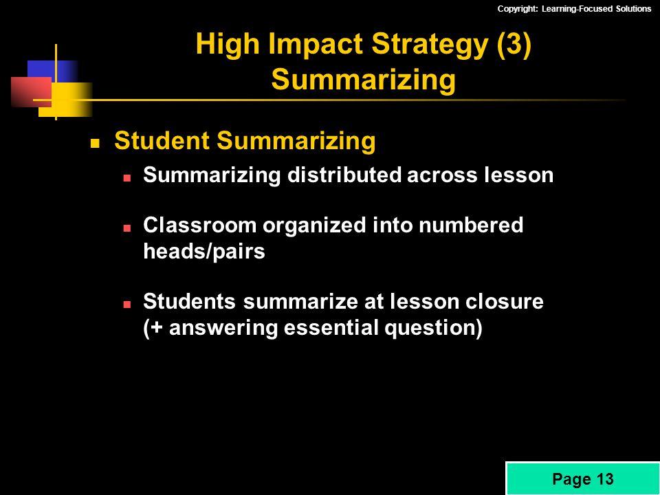 High Impact Strategy (3) Summarizing