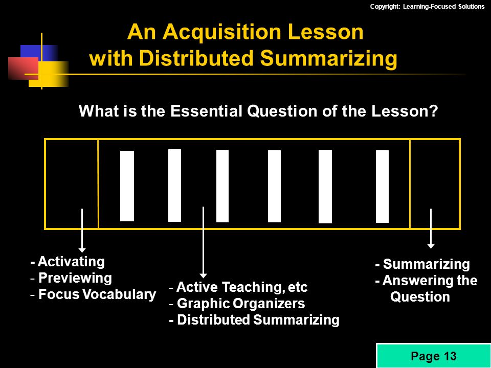 An Acquisition Lesson with Distributed Summarizing