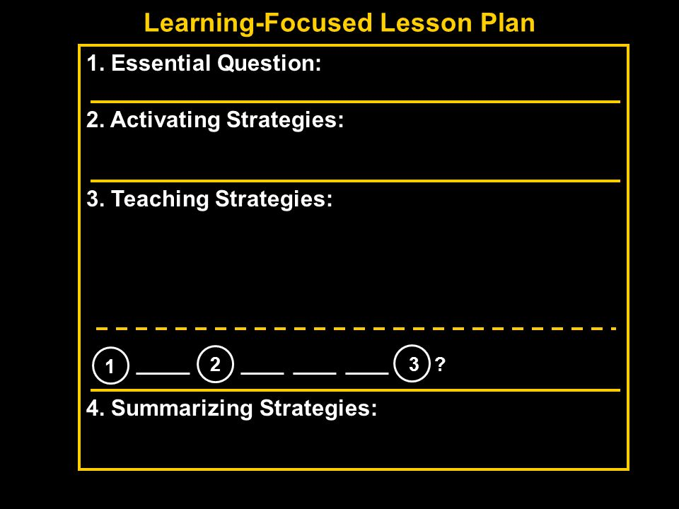 Learning-Focused Lesson Plan