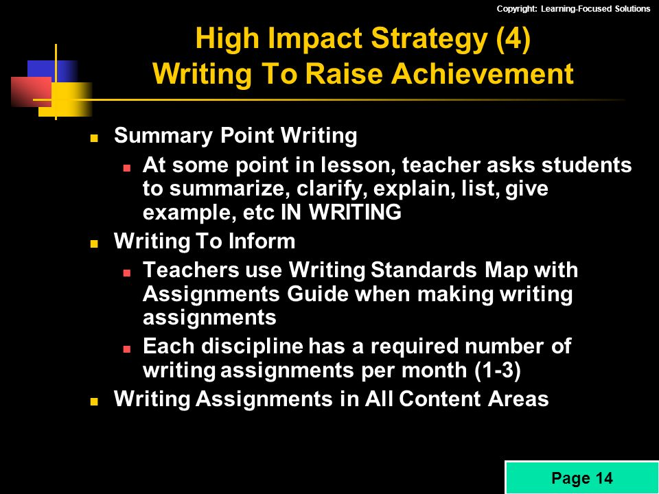 High Impact Strategy (4) Writing To Raise Achievement