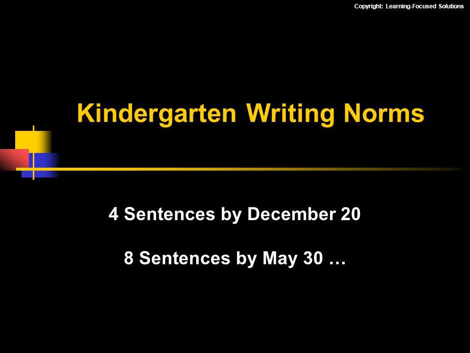 Kindergarten Writing Norms