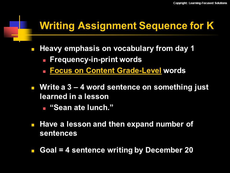 Writing Assignment Sequence for K