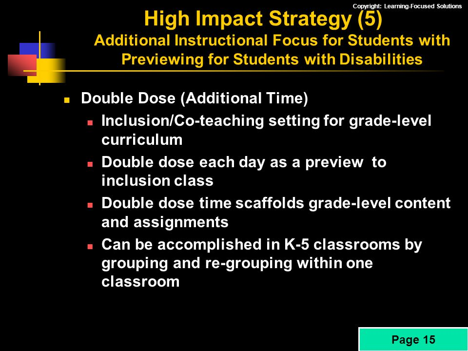 High Impact Strategy (5) Additional Instructional Focus for Students with Previewing for Students with Disabilities