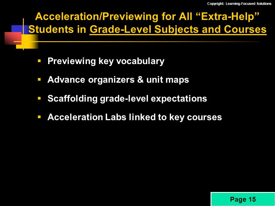 Acceleration/Previewing for All Extra-Help Students in Grade-Level Subjects and Courses
