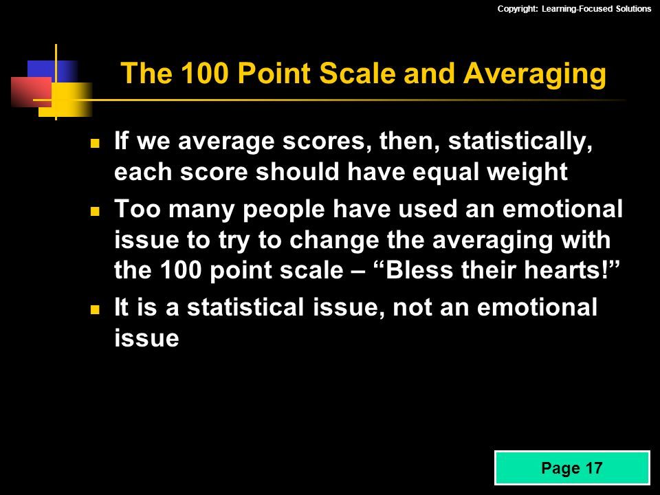 The 100 Point Scale and Averaging