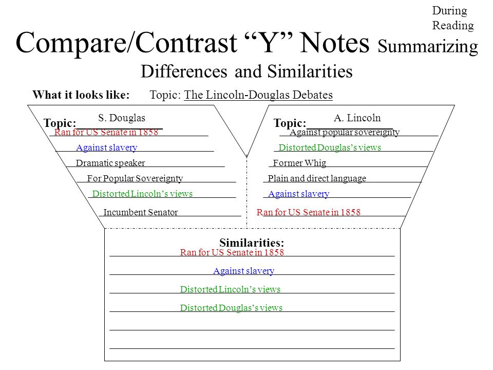 Compare/Contrast Y Notes Summarizing Differences and Similarities