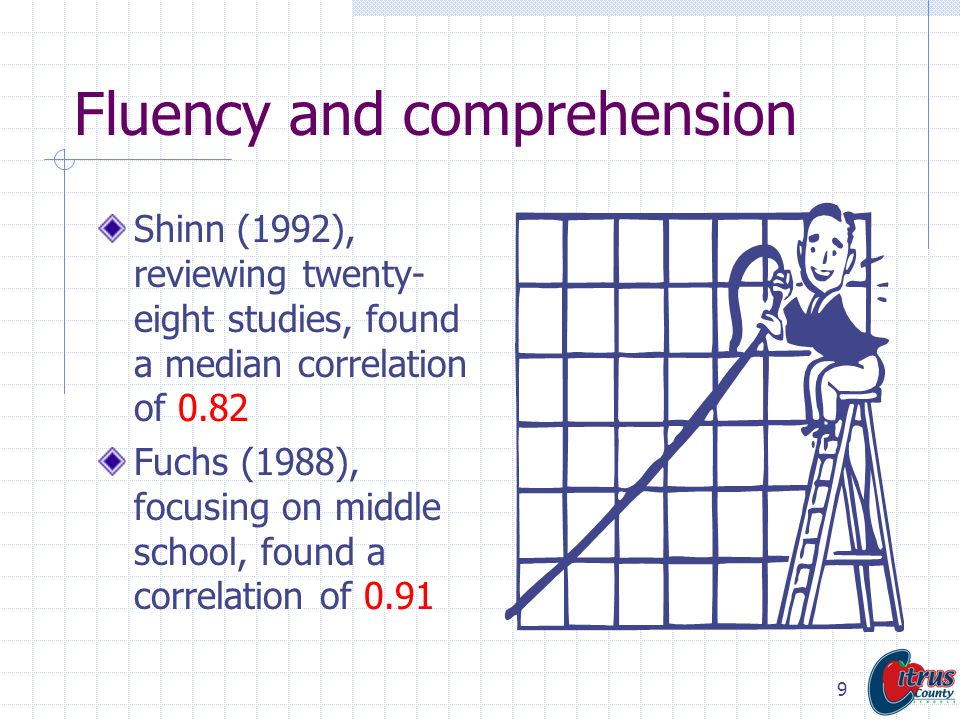 Fluency and comprehension