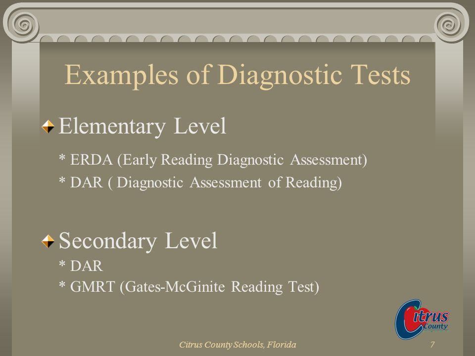 Examples of Diagnostic Tests
