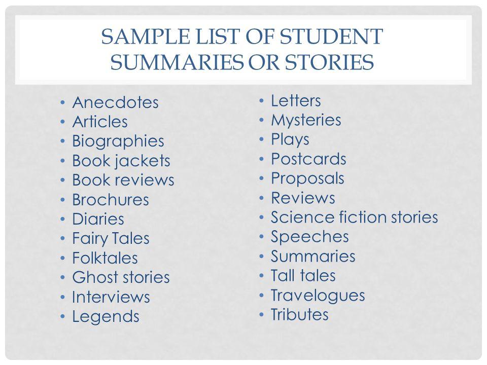 Sample list of Student summaries or Stories