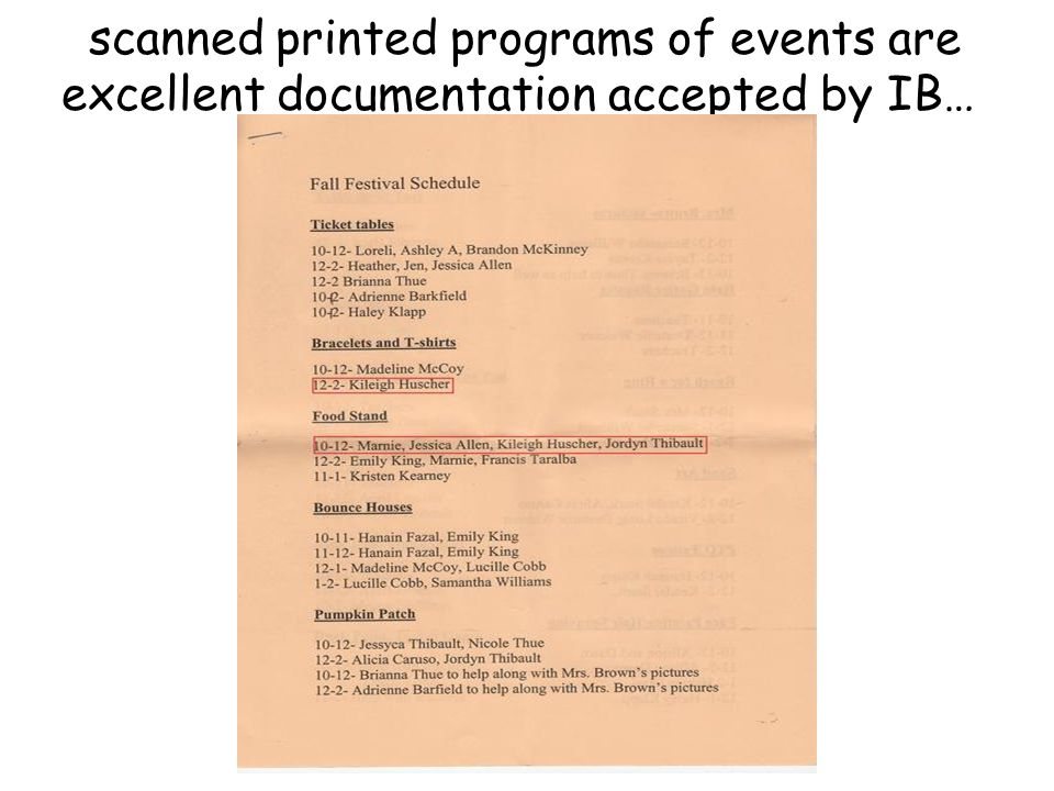 scanned printed programs of events are excellent documentation accepted by IB…