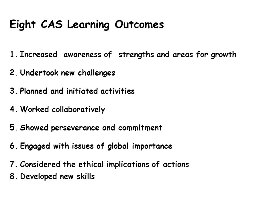Eight CAS Learning Outcomes