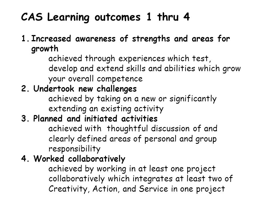 CAS Learning outcomes 1 thru 4